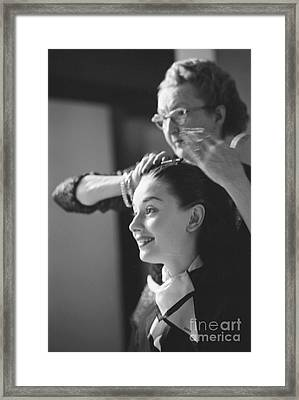 Audrey Hepburn Preparing For A Scene In Roman Holiday Framed Print by The Harrington Collection