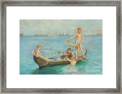 August Blue Framed Print by Henry Scott Tuke