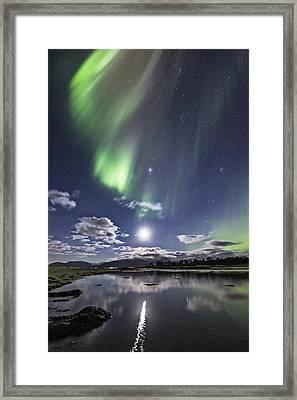 Auroras And Moon Framed Print by Frank Olsen