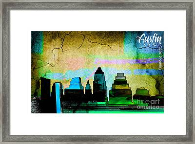 Austin Skyline Watercolor Framed Print