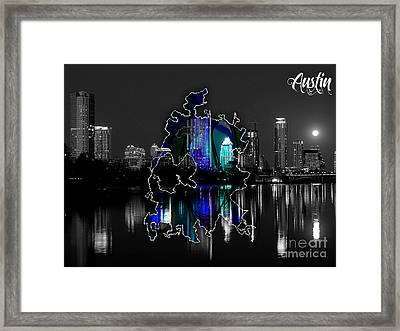 Austin Texas Map And Skyline Watercolor Framed Print