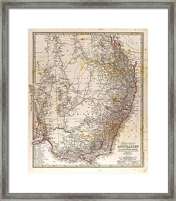 Australia Map Gotha Justus Perthes 1872 Atlas Framed Print by Australian School