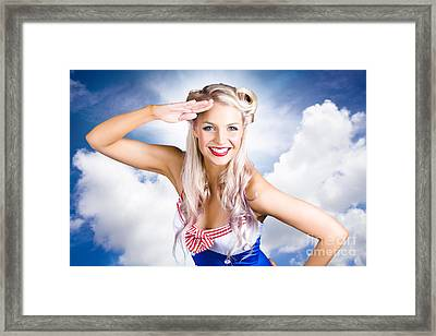 Australian Navy Girl Saluting Australia Day Framed Print by Jorgo Photography - Wall Art Gallery