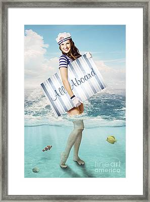 Australian Sailor Pin-up Woman Holding Sign Board Framed Print