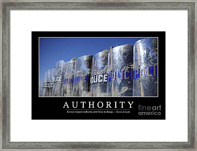Authority Inspirational Quote Framed Print by Stocktrek Images