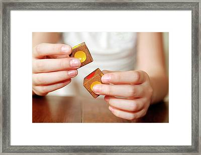 Autistic Girl Playing With Toy Blocks Framed Print by Hannah Gal
