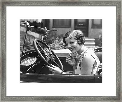 Auto Horn Button Vanity Case Framed Print by Underwood Archives