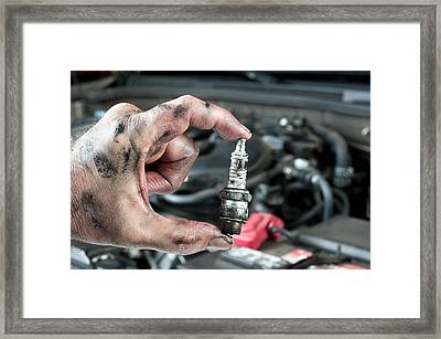 Auto Mechanic And Sparkplug Framed Print