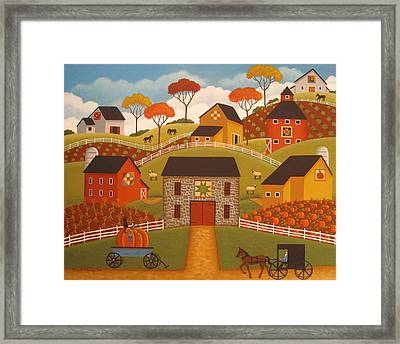 Autumn Barn Quilts Framed Print