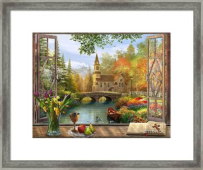 Autumn Church Frame Framed Print