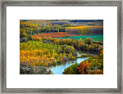 Autumn Colors On The Ebro River Framed Print by RicardMN Photography