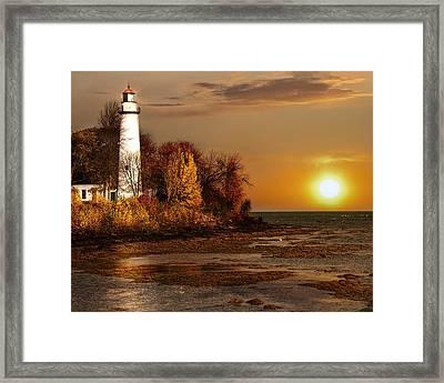 Golden Lighthouse Dawn Framed Print by Pat Eisenberger