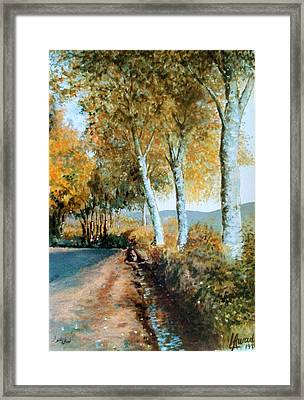 Framed Print featuring the painting Autumn Is Coming  by Laila Awad Jamaleldin