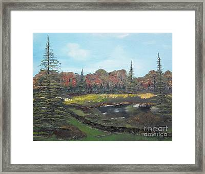 Framed Print featuring the painting Autumn Landscape by Jan Dappen