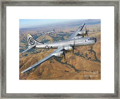B-29 On Silver Wings Framed Print by Stu Shepherd