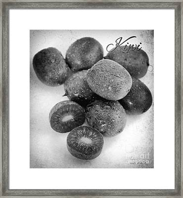 Baby Kiwi With Blake And White Text Distressed Framed Print by Iris Richardson