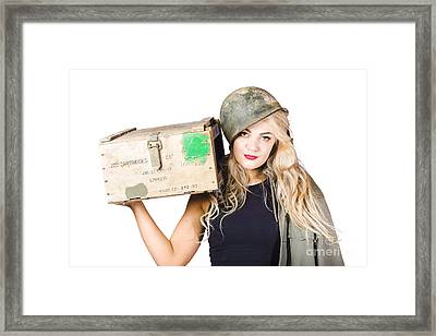 Backup Pinup Girl Wearing Army Helmet And Supplies Framed Print by Jorgo Photography - Wall Art Gallery