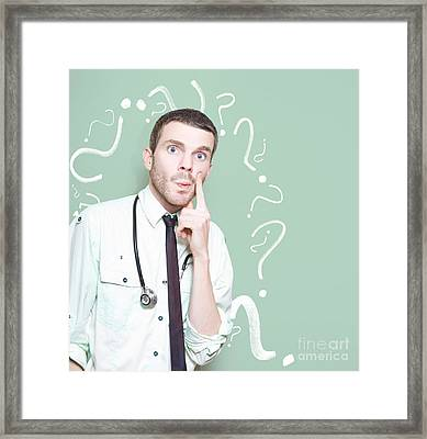 Baffled Medical Professional With Health Question Framed Print