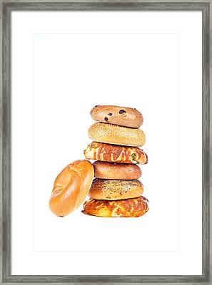 Bagels On White Background Framed Print by Joe Belanger