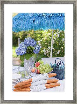 Baguettes And Fruit On Table Laid Out Of Doors Framed Print