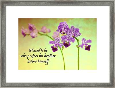Bahai Purple Orchid Quote Framed Print