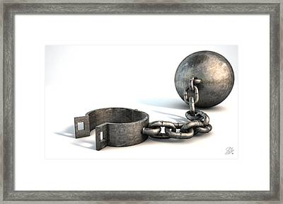 Ball And Chain Isolated Framed Print by Allan Swart