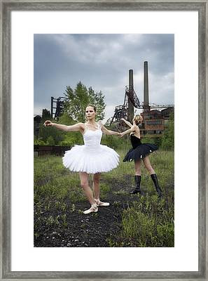 Ballerinas In Black And White Framed Print by Radka Linkova