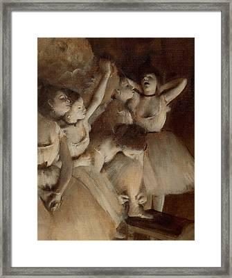 Ballet Rehearsal On Stage Framed Print by Edgar Degas