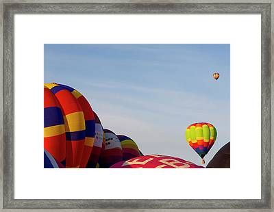 Balloons Lifting For The Mass Ascension Framed Print by Maresa Pryor