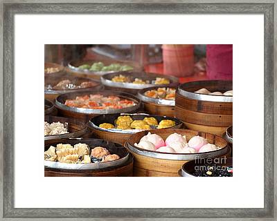 Bamboo Steamers With Dim Sum Dishes Framed Print by Yali Shi