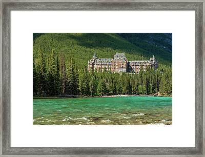 Banff Springs Hotel By Bow River Framed Print