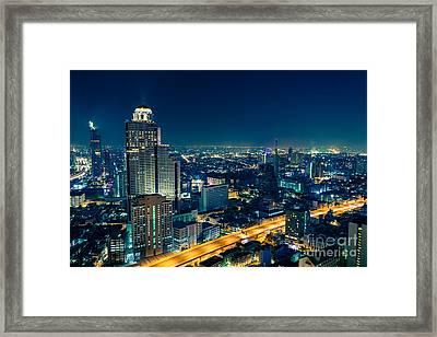 Bangkok City Skyline At Night Framed Print