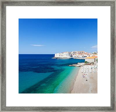 Banje Beach With Old Town Of Dubrovnik Framed Print by Panoramic Images