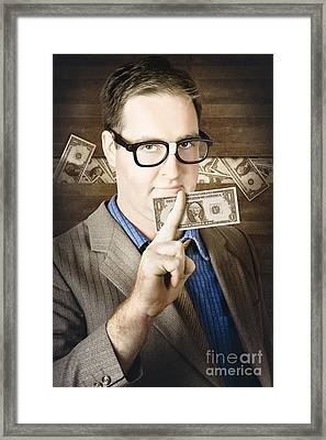 Banking Business Man With American Money Framed Print by Jorgo Photography - Wall Art Gallery
