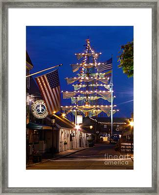 Bannister's Wharf And The Tall Ships Framed Print by Butch Lombardi