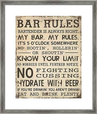 Bar Rules Framed Print by Jaime Friedman