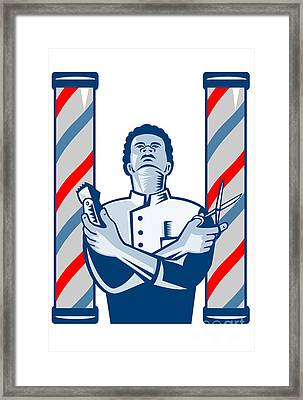 Barber With Pole Hair Clipper And Scissors Retro Framed Print by Aloysius Patrimonio