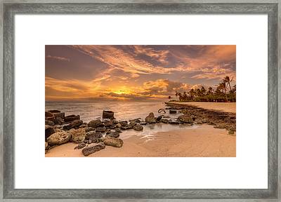 Barbers Point Light House Sunset Framed Print