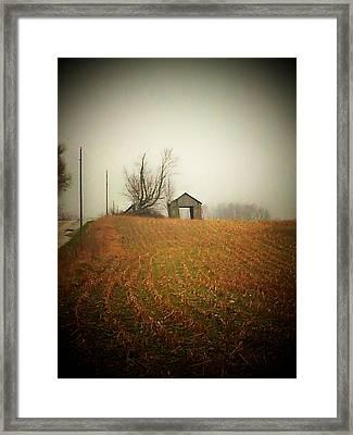 Barn And Road Framed Print