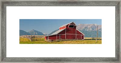 Barn In A Field With A Wallowa Framed Print