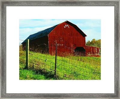 Barn With An M Framed Print by Joyce Kimble Smith