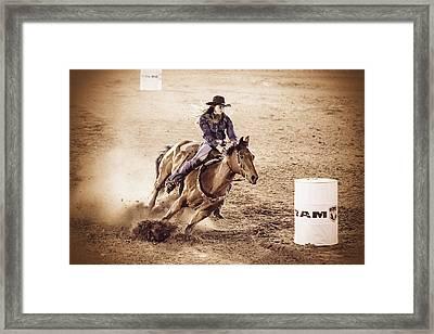 Barrel Racing Framed Print by Caitlyn  Grasso