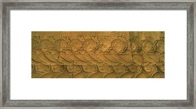 Bas Relief In A Temple, Angkor Wat Framed Print by Panoramic Images