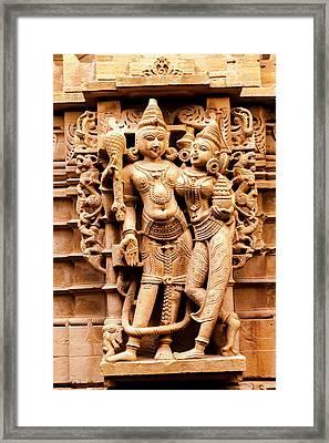 Bas Relief Jain Temple Golden Sandstone Framed Print