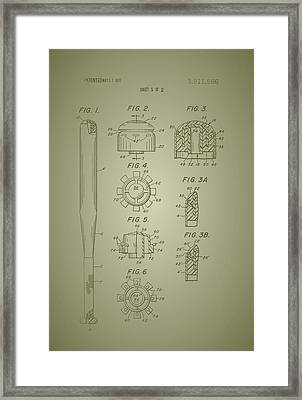 Baseball Bat Construction Patent 1974 Framed Print by Mountain Dreams
