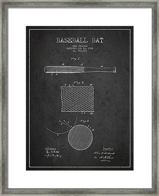 Baseball Bat Patent Drawing From 1904 Framed Print
