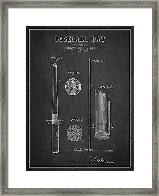 Baseball Bat Patent Drawing From 1921 Framed Print
