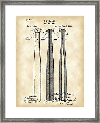 Baseball Bat Patent 1888 - Vintage Framed Print by Stephen Younts
