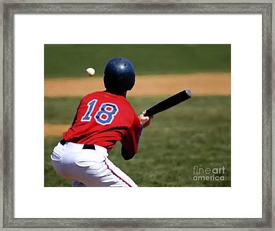 Baseball Batter Framed Print by Lane Erickson