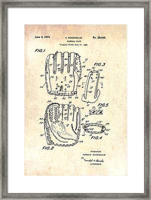 Baseball Glove Patent 1974 Framed Print by Mountain Dreams